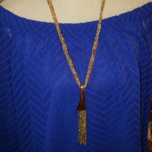 Long Multi Strand Seed Bead & Goldtone Necklace